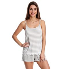 Juniors' Wallflower Lace Trim Tank & Shorts Pajama Set