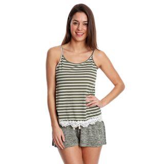 Juniors' Wallflower Lace Trim Tank & Shorts Pajama Set