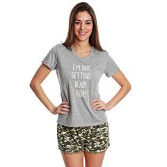 Juniors' Wallflower Graphic Tee & Shorts Pajama Set