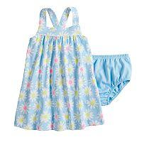 Baby Girl Jumping Beans® Printed Pom-Trim Dress