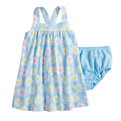 Baby Girl Jumping Beans® Printed Pom-Trim Dress