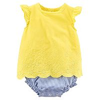 Baby Girl Carter's Yellow Eyelet Romper Bodysuit