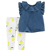 Baby Girl Carter's Chambray Top & Lemon Print Leggings Set