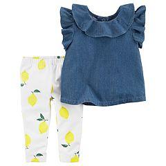 Baby Girl Carter's Chambray Top & Lemon Print Leggings Set