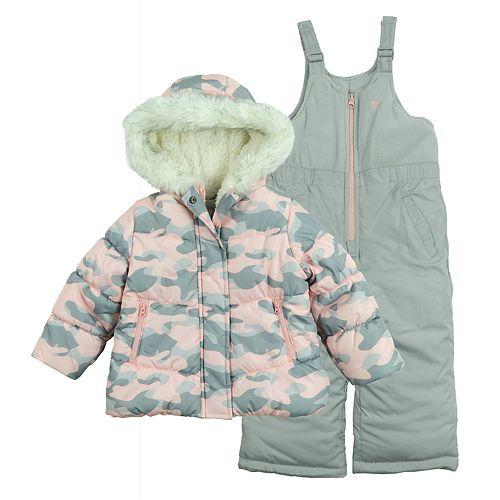 Girls 4-6x OshKosh B'gosh® Faux-Fur Jacket & Bib Snow Pants Set