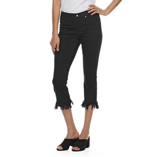 Women's Utopia by HUE Raw Edge Kick Flare Capri Leggings