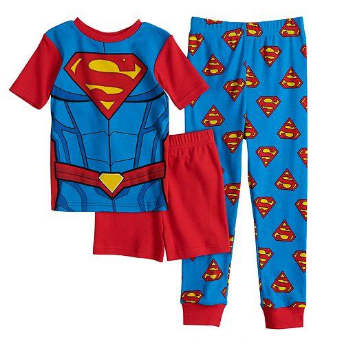 Superman Boys Kids Long Sleeve Man of Steel PJ Pajama Set