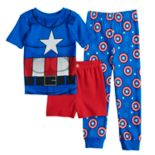 Boys 4-10 Captain America 3 pc Pajama Set