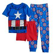Boys 4-10 Captain America 3 pc Pajama Set