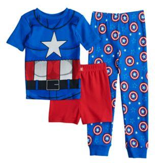 Boys 4-10 Captain America 3-Piece Costume Pajama Set