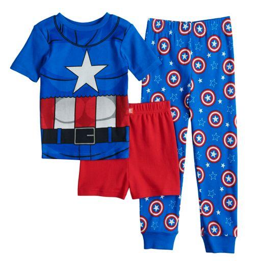 Boys 4-10 Captain America 3-Piece Pajama Set