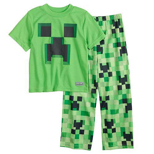 Boys 6-12 Minecraft Creeper 2-Piece Costume Pajama Set