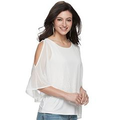 Women's Jennifer Lopez Embellished Asymmetrical Chiffon Top