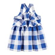 Baby Girl Carter's Blue Checkered Dress with Bloomers