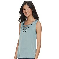 Women's Rock & Republic® Lace-up Grommet Tank