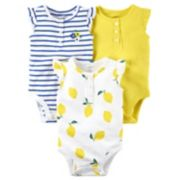 Baby Girl Carter's 3-Pack Lemon Yellow Bodysuits
