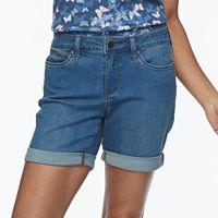 Petite Croft & Barrow® Cuffed Denim Midi Shorts