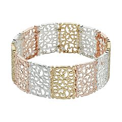LC Lauren Conrad Tri Tone Filigree Stretch Bracelet