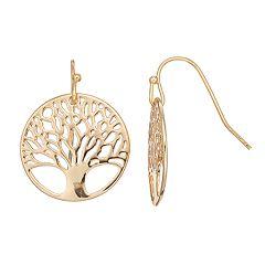 LC Lauren Conrad Openwork Tree of Life Nickel Free Disc Drop Earrings