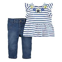 Baby Girl Carter's Striped Flower Top & Jeggings Set