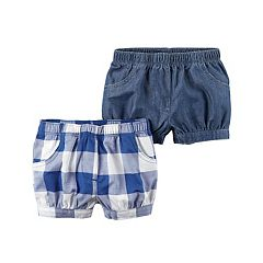 Baby Girl Carter's 2-Pack Checkered & Chambray Shorts