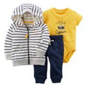 """Baby Boy Carter's Striped Zip-Up Hoodie, """"Little Captain"""" Bodysuit & Pants Set"""