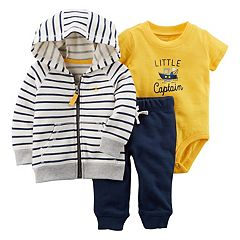 Baby Boy Carter's Striped Zip-Up Hoodie, 'Little Captain' Bodysuit & Pants Set