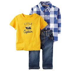 Baby Boy Carter's Checkered Shirt, 'Little Captain' Tee & Jeans Set