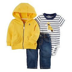 Baby Boy Carter's Zip-Up Hoodie, Dog Applique Bodysuit & Jeans Set
