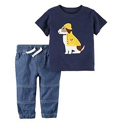 Baby Boy Carter's Embroidered Dog Applique Tee & Chambray Pants Set
