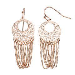LC Lauren Conrad Disc & Chain Nickel Free Drop Earrings