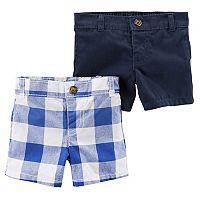 Baby Boy Carter's 2-Pack Checkered & Solid Shorts Set