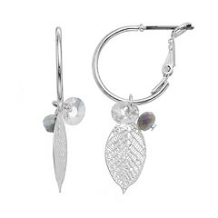 LC Lauren Conrad Leaf Nickel Free Hoop Drop Earrings