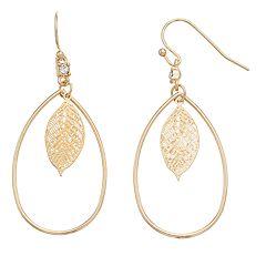 LC Lauren Conrad Leaf Nickel Free Teardrop Earrings