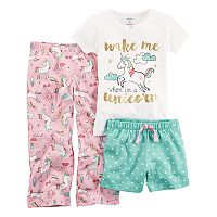Toddler Girl Carter's 3 pc Printed Pajama Set