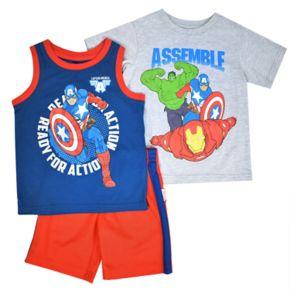 Toddler Boy Marvel Avengers Tee, Tank & Shorts Set