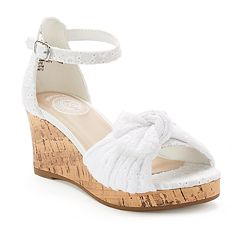 SO® Girls' Eyelet Wedge Sandals