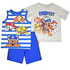 Toddler Boy Paw Patrol 'Pawfect Teamwork' Tee, Striped Tank Top & Shorts Set