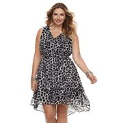 Plus Size Jennifer Lopez High-Low Ruffle Fit & Flare Dress