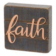 """Rustic Farmhouse """"Faith"""" Box Sign Wall Art"""