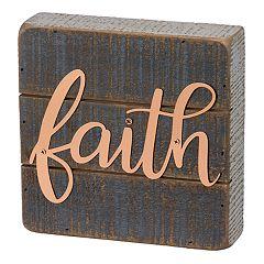 Rustic Farmhouse 'Faith' Box Sign Wall Art