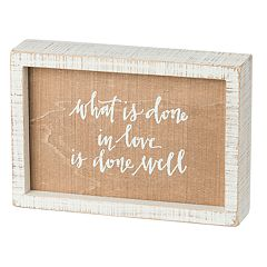 Rustic 'Done In Love' Box Sign Wall Art