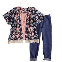 Girls 7-16 Knitworks Anorak, Tank Top & Capri Legging Set with Necklace