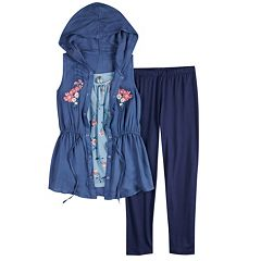 Girls 7-16 Knitworks Kimono, Tank Top & Capri Legging Set with Necklace