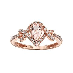 10k Rose Gold Morganite & 1/8 Carat T.W. Diamond Teardrop Ring