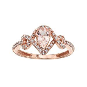 10k Rose Gold Morganite & 1/8 Carat T W  White & Champagne Diamond Halo Ring