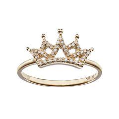 10k Gold 1/8 Carat T.W. Diamond Crown Ring