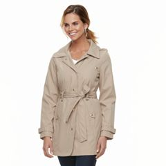 Women's Weathercast Hooded Bonded Trench Coat