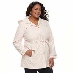 Plus Size Weathercast Hooded Bonded Trench Coat
