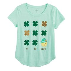 Girls 7-16 & Plus Size SO® St. Patrick's Day 'I'm So Lucky' Glitter Shamrock Graphic Tee